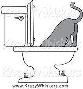 Critter Clipart of a Gray Cat Drinking from a Toilet by Djart