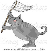 Critter Clipart of a Gray Kitty Cat Standing on Its Hind Legs and Holding up a Fishing Net by Dennis Cox