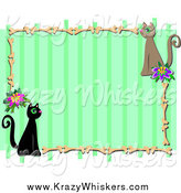 Critter Clipart of a Green Stripe Frame with Kitty Cats and Bones by