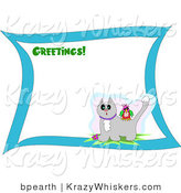 Critter Clipart of a Greetings Stationery Sheet with Green Text and a Colorful Bird on the Back of a Surprised Gray Cat with Snow on Its Head by
