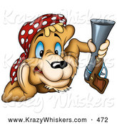 Critter Clipart of a Grinning Alert Cougar Pirate or Hunter Wearing a Bandana and Holding a Gun by Dero