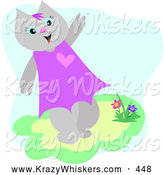 Critter Clipart of a Grinning Friendly Female Cat Waving and Walking by Flowers by