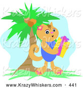 Critter Clipart of a Grinning Happy Hawaiian Cat Holding a Gift near a Palm Tree on Christmas by