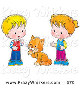 Critter Clipart of a Grooming Cat Between a Little Boy and Girl on a White Background by Alex Bannykh