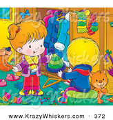 Critter Clipart of a Grooming Orange Kitty Cat in a Room with a Little Boy in Girl As They Go Through Their Winter Clothes by Alex Bannykh