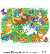 November 5th, 2012: Critter Clipart of a Group of Many Happy Kittens Playing with a Toy Fish and Chasing Butterflies Outdoors in a Flower Garden by Alex Bannykh