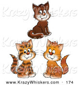 Critter Clipart of a Group of Three Brown, and Striped Kittens Smiling and Looking Forward by Alex Bannykh