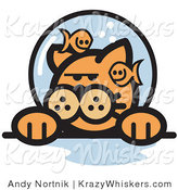 Critter Clipart of a Grumpy Ginger Cat with Fish Poking Fun at Him in a Fishbowl Stuck on His Head by Andy Nortnik