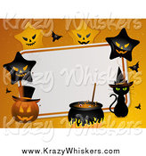 Critter Clipart of a Halloween Background with Stars, Pumpkins and a Witch Cat by Elaineitalia