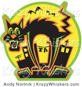 Critter Clipart of a Halloween Scared Black Cat Arching Its Back As Bats Fly by While Standing on Top of a City Building by Andy Nortnik
