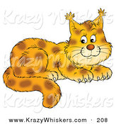 Critter Clipart of a Happy and Adorable Spotted Bobcat Cub with Tufts at the Tips of the Ears by Alex Bannykh