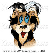 Critter Clipart of a Happy and Cute Blue Eyed Male Lion Washing His Mane with Shampoo by Dero