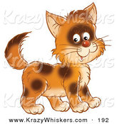 Critter Clipart of a Happy and Cute Brown Kitty Cat with Spots, Smiling at the Viewer by Alex Bannykh