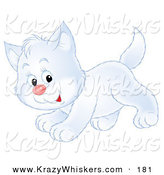 Critter Clipart of a Happy and Cute Playful White Kitty Cat Running past by Alex Bannykh