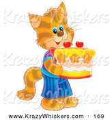 Critter Clipart of a Happy and Cute Striped Kitty Cat in Clothes, Standing on Its Hind Legs and Holding a Birthday Cake by Alex Bannykh