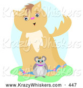 Critter Clipart of a Happy and Friendly Brown Cat by