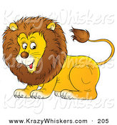 Critter Clipart of a Happy and Playful Young Male Lion with a Furry Mane by Alex Bannykh