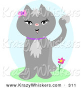 Critter Clipart of a Happy and Pretty Female Gray Cat Wearing a Purple Collar and a Pink Bow and Flower by Her Ear by