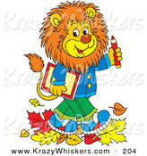 Critter Clipart of a Happy and Smart Young Male Lion Wearing Clothes, Walking Through Fallen Leaves and Carrying a Book and Pencil to School by Alex Bannykh