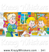 Critter Clipart of a Happy and Smiling Boy and Girl at a Table, Eating Fresh Food Made by Grandma by Alex Bannykh