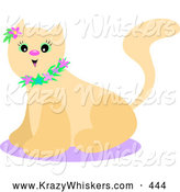 Critter Clipart of a Happy Beige Kitty Cat with Green Eyes, Wearing a Floral Collar and a Purple Flower by Her Ear, Sitting on a Purple Rug by