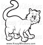 Critter Clipart of a Happy Black and White Cat by Lal Perera