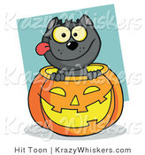 Critter Clipart of a Happy Black Cat in a Halloween Pumpkin by Hit Toon