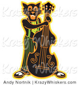 Critter Clipart of a Happy Black Cat Playing a Bass Fiddle in a Band by Andy Nortnik