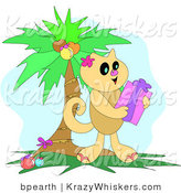 Critter Clipart of a Happy Brown Cat Holding a Christmas Gift Under a Decorated Palm Tree by