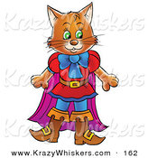 Critter Clipart of a Happy Brown Cat in Clothes and Boots, Puss in Boots by Alex Bannykh