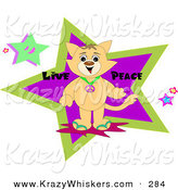 Critter Clipart of a Happy Brown Cat Wearing a Peace Symbol Necklace, Standing in Front of Stars with Live Peace Text by