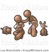Critter Clipart of a Happy Brown Family, Father, Mother and Newborn Baby with Their Dog and Cat by Leo Blanchette