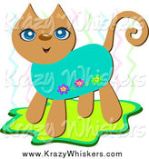 Critter Clipart of a Happy Brown Floral Cat with Zig Zags by