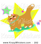 Critter Clipart of a Happy Brown Japanese Cat with Flowers and StarsHappy Brown Japanese Cat with Flowers and Stars by Bpearth