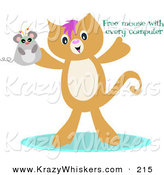 "Critter Clipart of a Happy Brown Kitten Holding up a Mouse with ""Free Mouse with Every Computer"" Text by Bpearth"