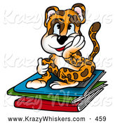 September 13th, 2013: Critter Clipart of a Happy but Tired Leopard Student Sitting Atop a Stack of Folders of Homework by Dero