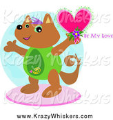 Critter Clipart of a Happy Cat Holding a Be My Love Heart by