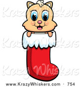Critter Clipart of a Happy Cat in a Christmas Stocking by Cory Thoman