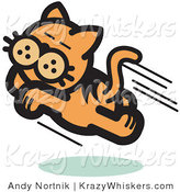 Critter Clipart of a Happy Cat Running and Pouncing Through the Air by Andy Nortnik