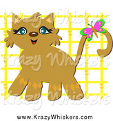 Critter Clipart of a Happy Cat with a Butterfly and Yellow Lattice by