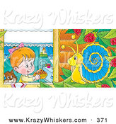 Critter Clipart of a Happy Cute Girl and Cat Holding a Cake out to a Snail in a Raspberry Bush by Alex Bannykh
