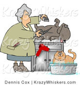 Critter Clipart of a Happy Dog Being Groomed and Watching a Cat Being Bathed by Djart