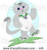 Critter Clipart of a Happy Friendly Gray Cat Waving and Wearing a Lei by