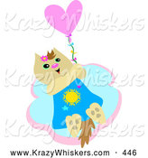 Critter Clipart of a Happy Furry Beige Cat Holding onto a Heart Balloon and Floating in the Sky by