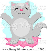 Critter Clipart of a Happy Gray Cat by