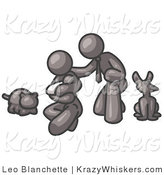 Critter Clipart of a Happy Gray Family, Father, Mother and Newborn Baby with Their Dog and Cat by Leo Blanchette