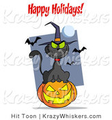 Critter Clipart of a Happy Holidays Greeting over a Black Cat and Pumpkin by Hit Toon