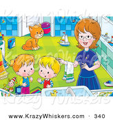 Critter Clipart of a Happy Mom Helping Her Children Get Cleaned up in a Bathroom, a Cat Watching in the Background by Alex Bannykh