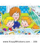 Critter Clipart of a Happy Mother Bending down to Help a Boy and Girl Clean Themselves up in a Bathroom by Alex Bannykh