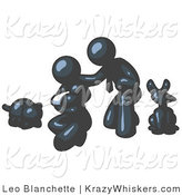 Critter Clipart of a Happy Navy Blue Family, Father, Mother and Newborn Baby with Their Dog and Cat by Leo Blanchette